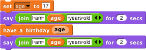 Code that uses the have a birthday() block