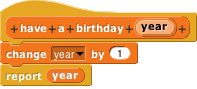 To modify the input variable, we add a reporter block to the have a birthday() block