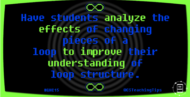Have students analyze the effects of changing pieces of a loop to improve their understanding of loop structure