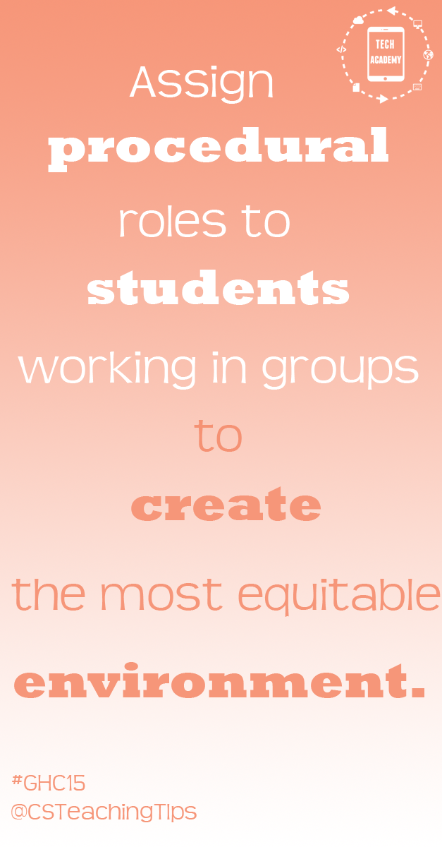 Assign procedural roles to students working in groups to create the most equitable environment