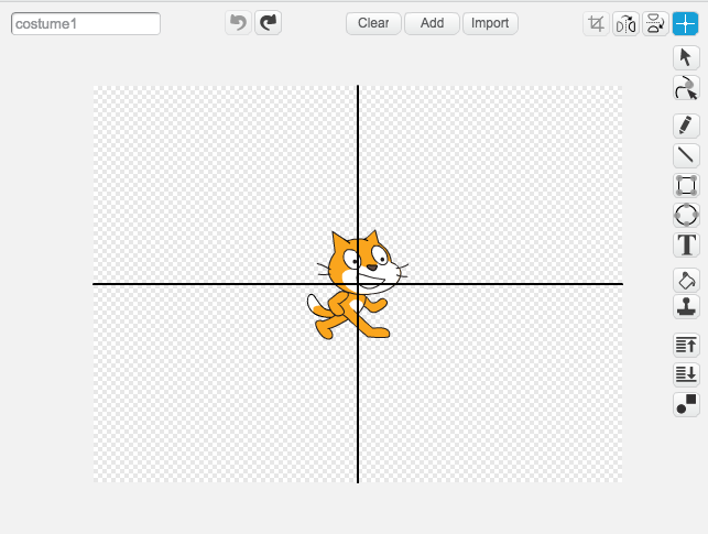 The costume editing stage in Scratch with the cat sprite centered at the origin.