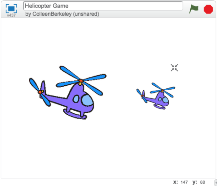Larger helicopter on the left and smaller helicopter on the right